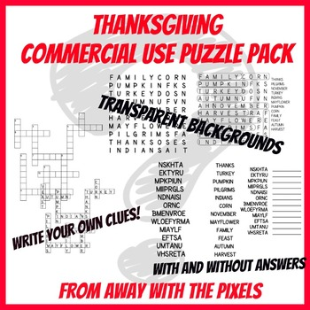 FREE! Thanksgiving Word Search, Crossword, Word Scramble GRAPHICS