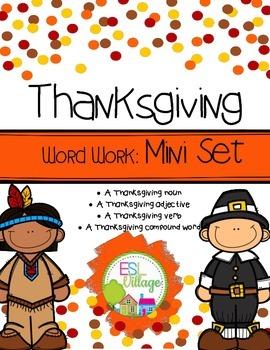 FREE Thanksgiving Word Work {Mini Set}