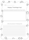 FREE! Thanksgiving Writing Worksheet