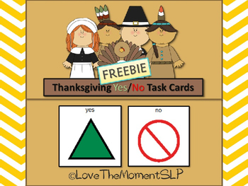 FREE Thanksgiving Yes/No Task Cards (AAC) For students wit