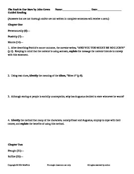 FREE The Fault in Our Stars by John Green Chapters 1-3 Guided Reading Worksheet