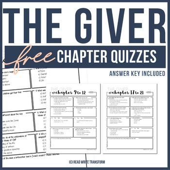 FREE The Giver Chapter Quizzes **ANSWER KEY PROVIDED** by