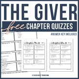 FREE The Giver Chapter Quizzes  **ANSWER KEY PROVIDED**