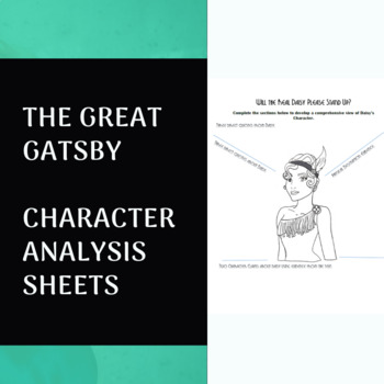FREE The Great Gatsby Character Analysis Sheets