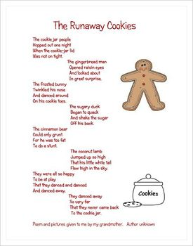 FREE!!  The Runaway Cookies Poem and Activity