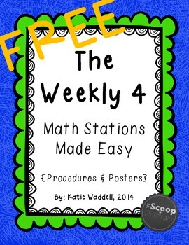 FREE The Weekly 4 Math Stations {Procedures & Posters}