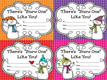 "FREE-- There's ""Snow One"" Like You! (Student Awards/Gift Tags)"