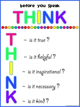 FREE - Think Before You Speak Poster {Sweet Line Design}