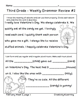 FREE Third Grade Common Core Daily Grammar Review - February Edition