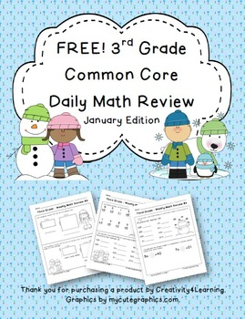 FREE Third Grade Common Core Daily Math Review - January Edition