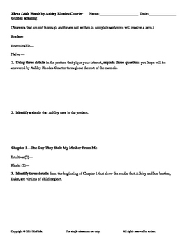 FREE Three Little Words by Ashley Rhodes-Courter Preface-Ch 1 Worksheet