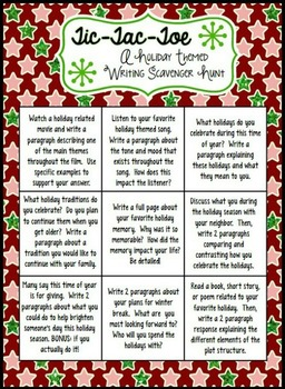 Tic Tac Toe Holiday Writing Activities for Grades 6-10 - Free