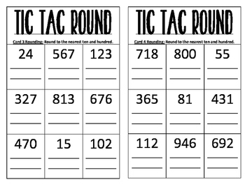 FREE Tic Tac Toe Rounding Math Intervention Small Group Cards Game