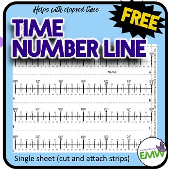 FREE Time Number Line - Helps with elapsed time (3.MD.1)