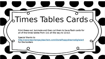Times Tables Flash Cards - Black and White Spotty