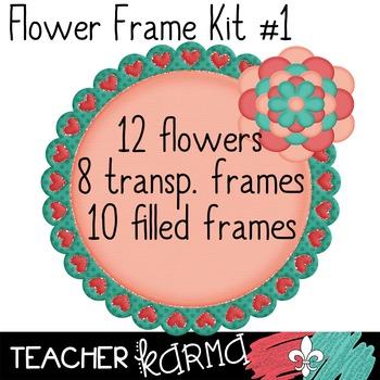 Flower Frames Kit ~ BUILD YOUR OWN Spring Clipart ~ Commercial OK