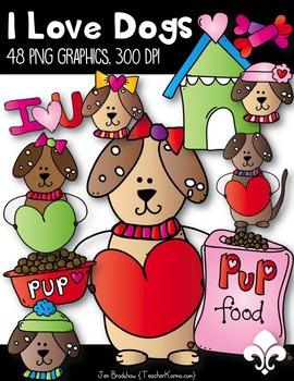 I LOVE Dogs Clip Art ~ Valentine's Day ~ Hand Drawn ~ Hearts