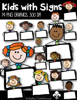 Kids with Signs Clip Art ~ Students ~ Girls & Boys Graphics