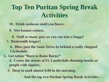 FREE!  Top 10 Puritan Spring Break Activities! POWERPOINT