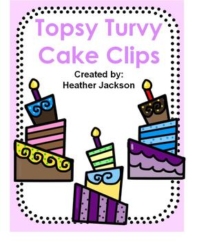 FREE Topsy Turvy Birthday Cake Clipart (personal or commercial use)