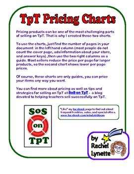 FREE TpT Pricing Charts for Sellers