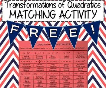 CUT & PASTE MATCHING ACTIVITY - Transformations of Quadratics