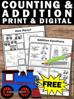 Free Counting Worksheet Transportation Theme Preschool Math Worksheet