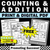 FREE Counting Worksheet, Kindergarten Addition Worksheet, Transportation Theme