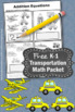 FREE Counting Worksheet, Kindergarten Addition Worksheet, Transportation Theme