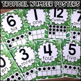 FREE Tropical Number Posters to 20 - Classroom Decor