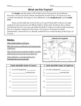 FREE Tropics Online Research Worksheet (4th grade geography ...