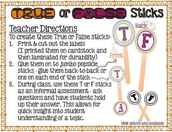 {FREE} True or False Sticks: Informal Assessment Tool