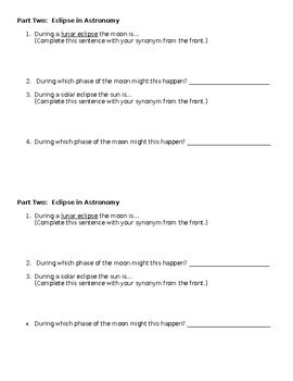 FREE! Try this when you start eclipses: Eclipses Intro NGSS MS-ESS1-1 MS-ESS1-2