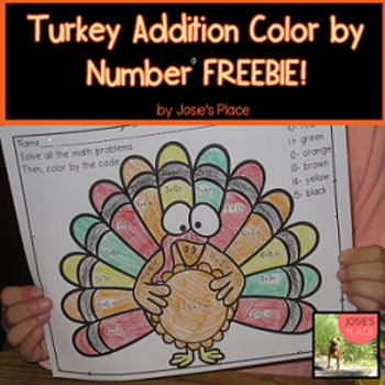 FREE Turkey Addition Color by Number