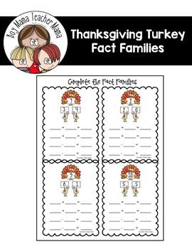 FREE Turkey Fact Families Practice Sheet