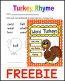 FREE - Turkey Words (Rhyming & Word Family)