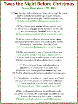 interactive read aloud lesson plan template - free twas the night before christmas interactive read