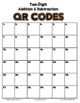 FREE! Two Digit Addition & Subtraction Cards with QR Codes