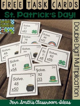 FREE St. Patrick's Day Double Digit Multiplication Task Cards
