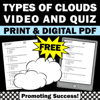 FREE Types of Clouds Worksheet and Video, Types of Clouds Activities 4th Grade