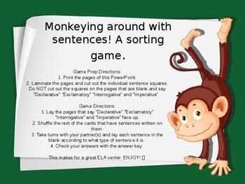 FREE Types of Sentences - Monkeying Around With Sentences