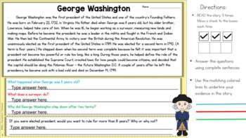 FREE - U.S. Presidents - Finding Text Evidence Reading Comprehension Passage