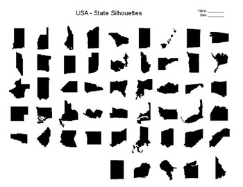 """FREE - U.S. States   State Report   State Research Project   """"Silhouettes"""""""