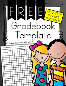 FREE UPDATED Grade Book Template - Now with more lines!
