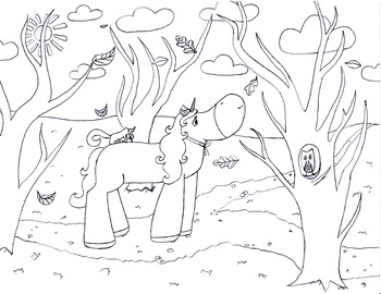 FREE Unicorn in Fall Forest COLORING SHEET!