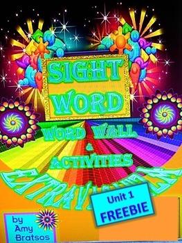 FREE Unit 1 Sight Vocabulary Word Wall Extravaganza