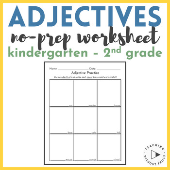 FREE! Use Adjectives to Describe Nouns Worksheet {First Gr