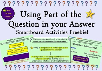 FREE Using Part of the Question in your Answer for the Smartboard!