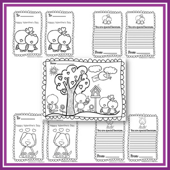 Freebie: Valentine Literacy Activity- Writing Card and Color Printable