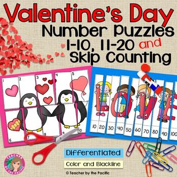 FREE VALENTINE Math Number Puzzles